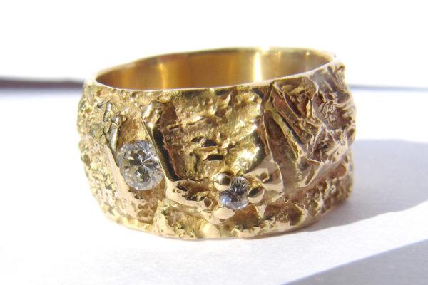 Bague diamant large originale or jaune Arbre des éléments