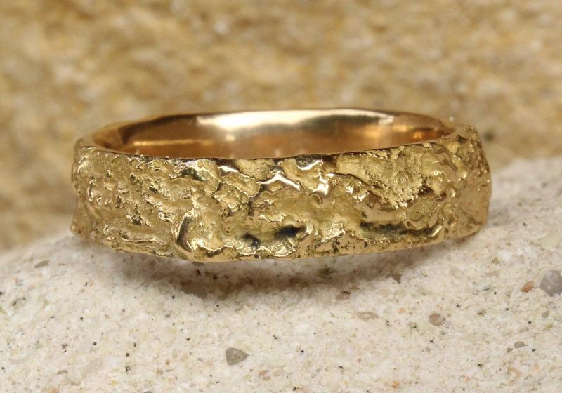 """Arbre des Eléments """"Simple"""" - Alliance mariage originale artisanale en or jaune"""