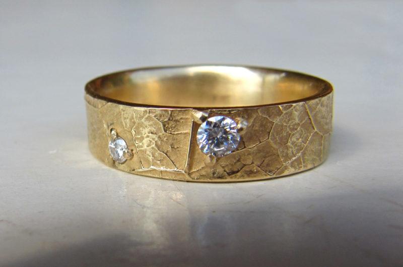 alliance nature or jaune et diamants création artisanale