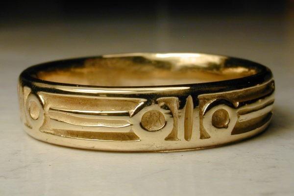 alliance de mariage anneau médiéval Fête des corps or jaune création originale